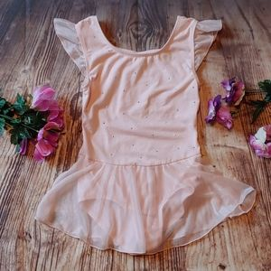 Girls large 10/12 dance pink skirted leotard